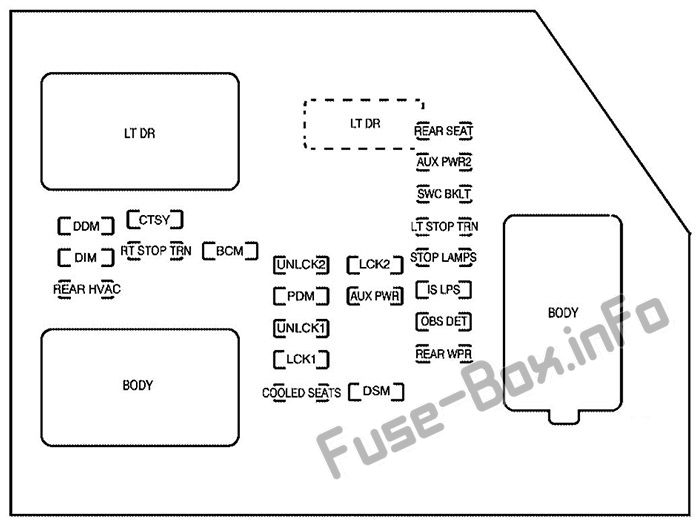 fuse box diagram cadillac escalade gmt 900 2007 2014. Black Bedroom Furniture Sets. Home Design Ideas
