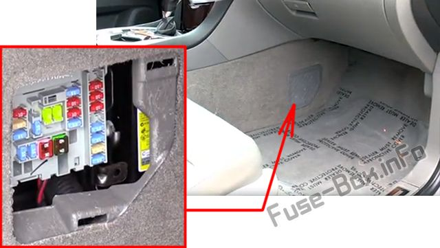The location of the fuses in the passenger compartment: Cadillac SRX (2010, 2011, 2012, 2013, 2014, 2015, 2016)