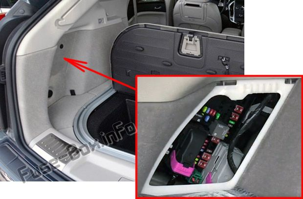The location of the fuses in the trunk: Cadillac SRX (2010, 2011, 2012, 2013, 2014, 2015, 2016)