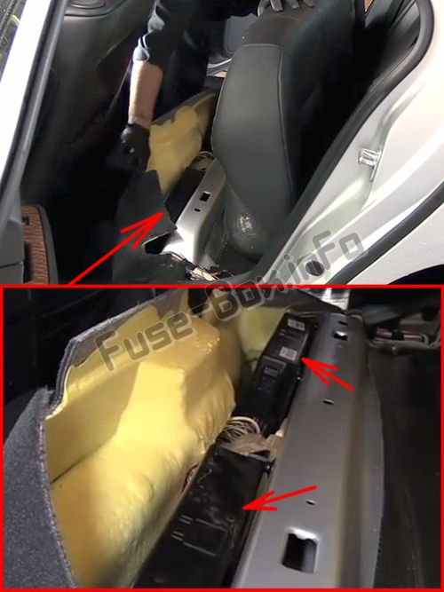 The location of the fuses in the passenger compartment: Cadillac STS