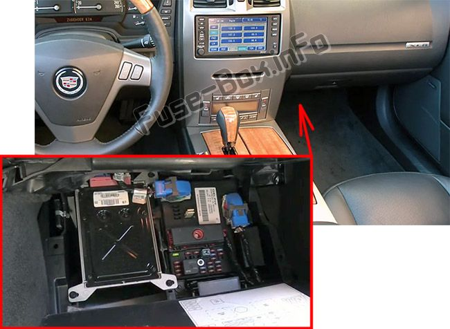The location of the fuses in the passenger compartment: Cadillac XLR