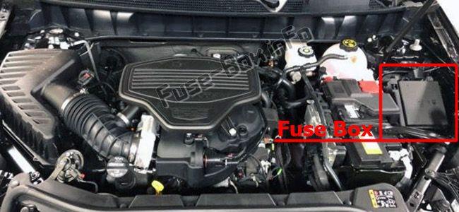 Die Position der Sicherungen im Motorraum: Cadillac XT5