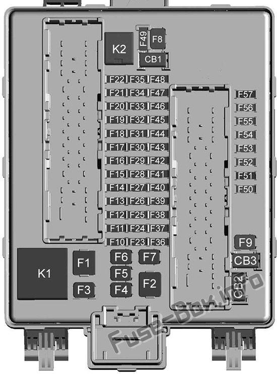 Trunk fuse box diagram: Cadillac XT5
