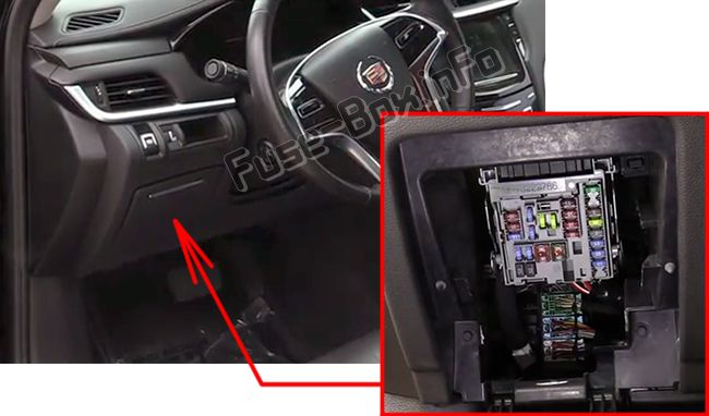 The location of the fuses in the passenger compartment: Cadillac XTS