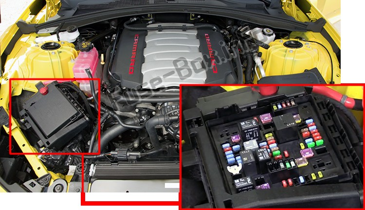 The location of the fuses in the engine compartment: Chevrolet Camaro (2016-2018)
