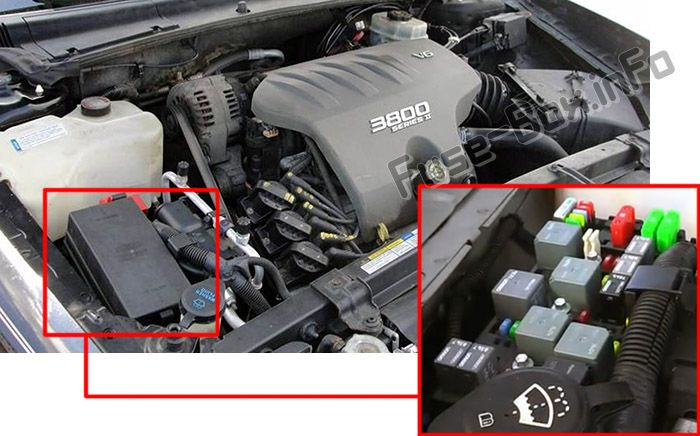The location of the fuses in the engine compartment: Pontiac Bonneville (2000-2005)