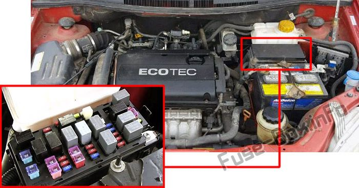 The location of the fuses in the engine compartment: Pontiac G3 (2009, 2010)