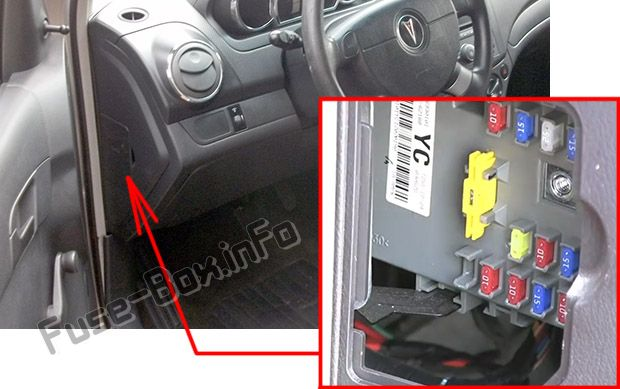 The location of the fuses in the passenger compartment: Pontiac G3 (2009, 2010)