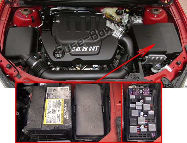 The location of the fuses in the engine compartment: Pontiac G6 (2005-2010)