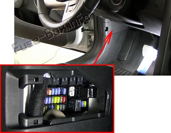 The location of the fuses in the passenger compartment: Pontiac G8 (2008, 2009)