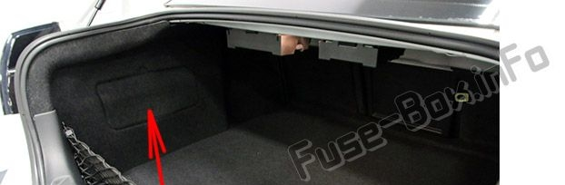 The location of the fuses in the trunk: Pontiac G8 (2008, 2009)