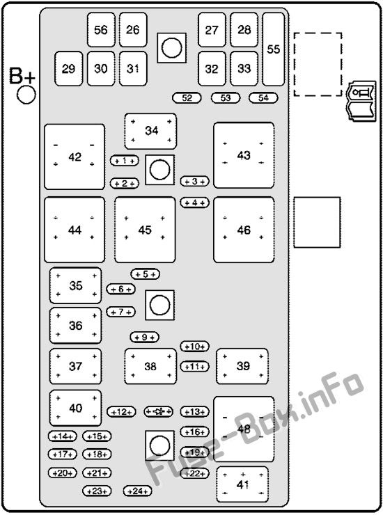 Under-hood fuse box diagram (3.8L): Pontiac Grand Prix (2004, 2005, 2006, 2007, 2008)