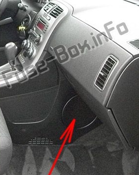 The location of the fuses in the passenger compartment: Pontiac Torrent (2005-2009)