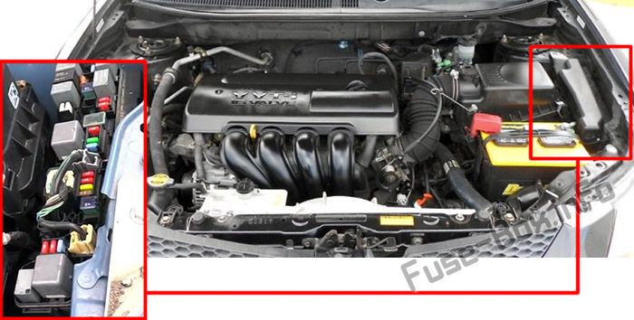 The location of the fuses in the engine compartment: Pontiac Vibe (2003-2008)