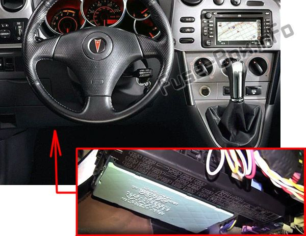 The location of the fuses in the passenger compartment: Pontiac Vibe (2003-2008)