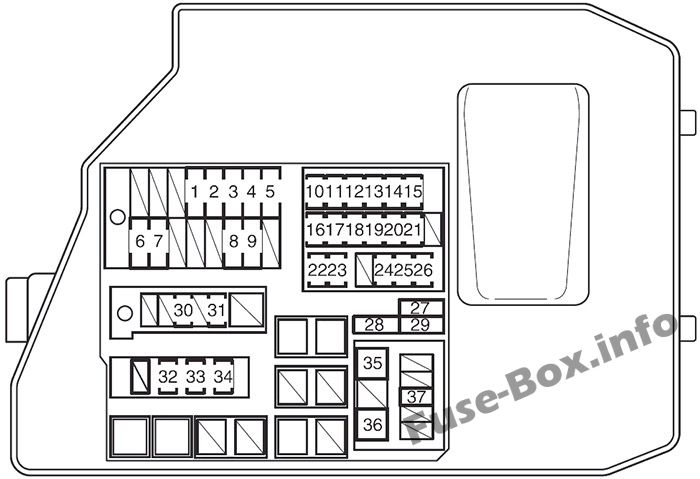 Under-hood fuse box diagram: Pontiac Vibe (2009, 2010)