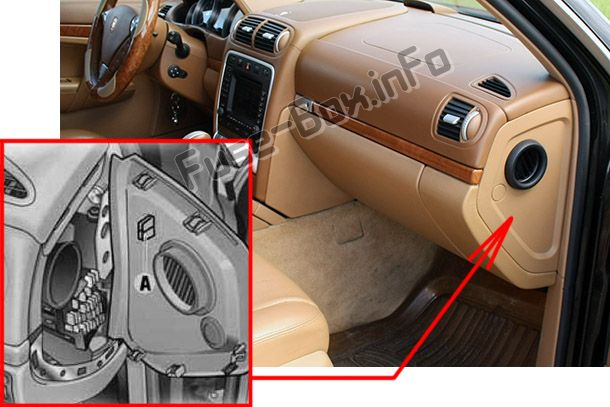 The location of the fuses in the right side of the dashboard: Porsche Cayenne (2003-2010)