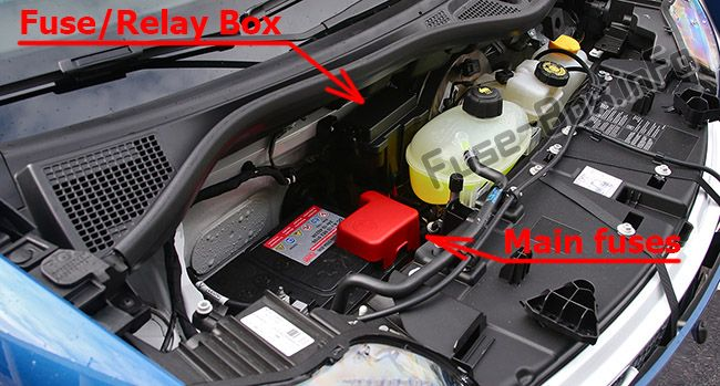 The location of the fuses in the engine compartment: Smart Fortwo / Forfour (2014-2018)