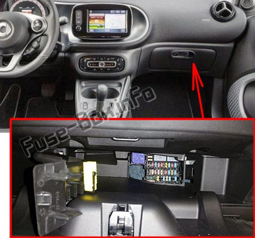 The location of the fuses in the passenger compartment: Smart Fortwo / Forfour (2014-2018)