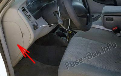 The location of the fuses in the passenger compartment: Ford Ranger (1998-2003)