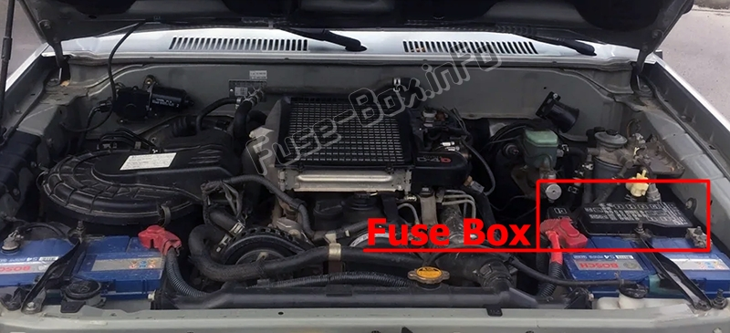 The location of the fuses in the engine compartment: Toyota Land Cruiser Prado 90