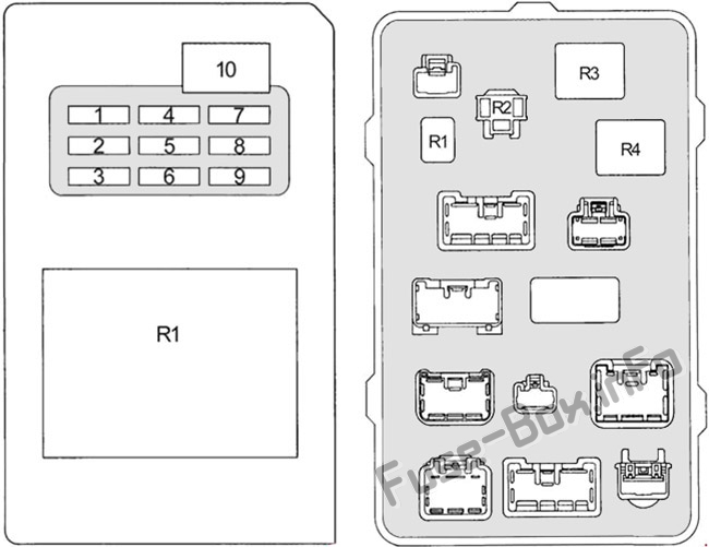 Instrument panel fuse box diagram (type 1): Toyota Land Cruiser Prado (90/J90; 1996, 1997, 1998, 1999, 2000, 2001, 2002)