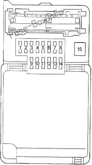 Instrument panel fuse box diagram (type 2): Toyota Land Cruiser Prado (90/J90; 1996, 1997, 1998, 1999, 2000, 2001, 2002)