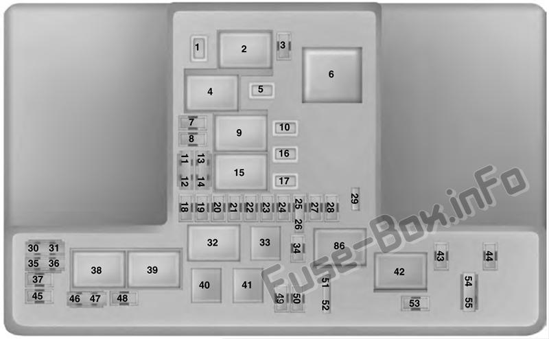 Under-hood fuse box diagram: Lincoln Nautilus (2019-..)