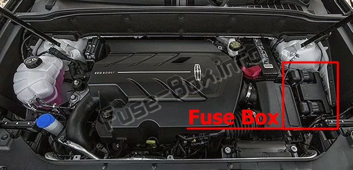 The location of the fuses in the engine compartment: Lincoln Nautilus (2019-..)