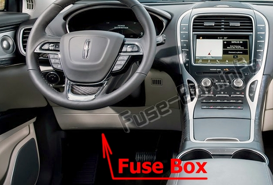 The location of the fuses in the passenger compartment: Lincoln Nautilus (2019-..)