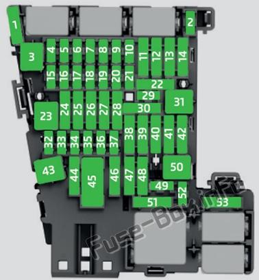 Instrument panel fuse box diagram: SEAT Ateca (2016, 2017, 2018, 2019)