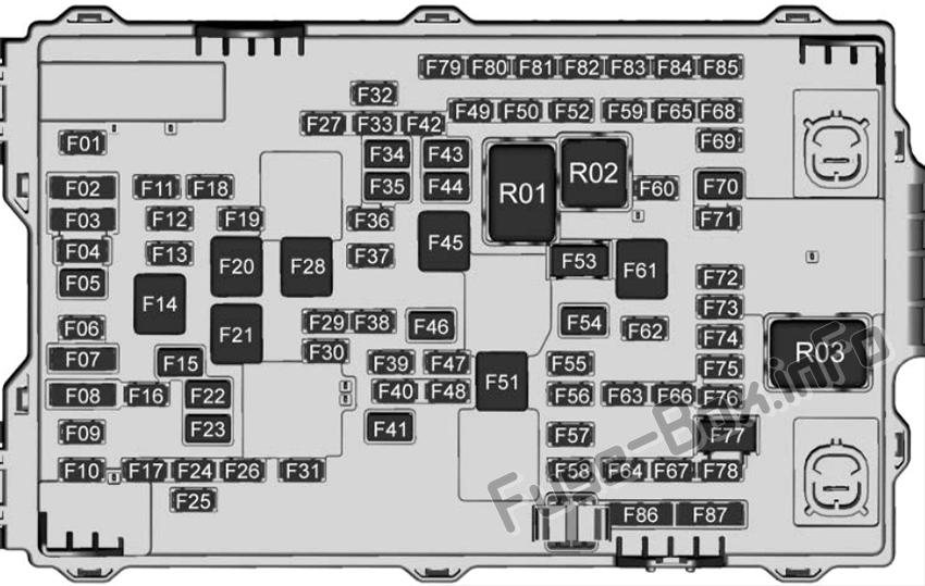 Diagrama de la caja de fusibles del maletero (con Super Cruise): Cadillac CT6
