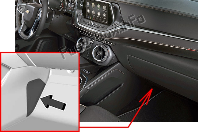 The location of the fuses in the passenger compartment: Chevrolet Blazer (2019-..)
