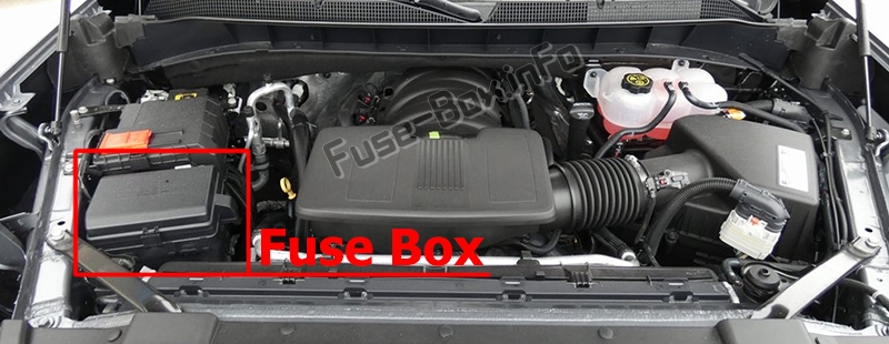 The location of the fuses in the engine compartment: Chevrolet Silverado (2019)