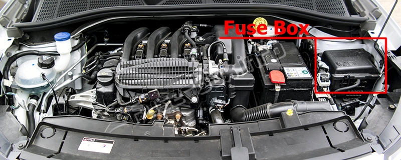 The location of the fuses in the engine compartment: Citroen C4 Cactus (2014-2017)