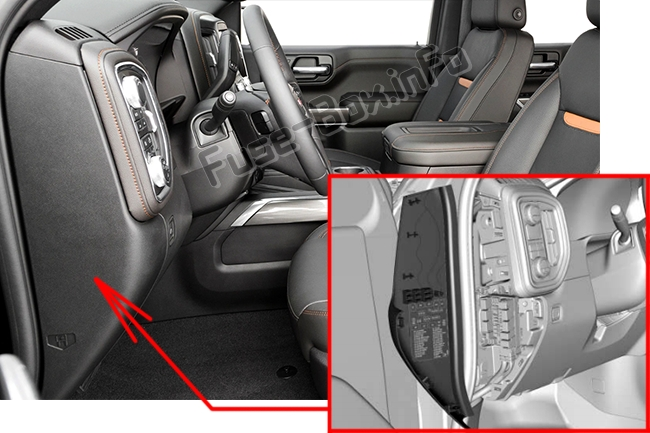 The location of the fuses in the passenger compartment (left): GMC Sierra (2019..)
