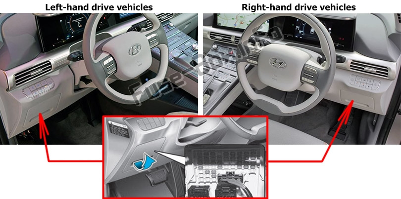 The location of the fuses in the passenger compartment: Hyundai Nexo (2019-..)