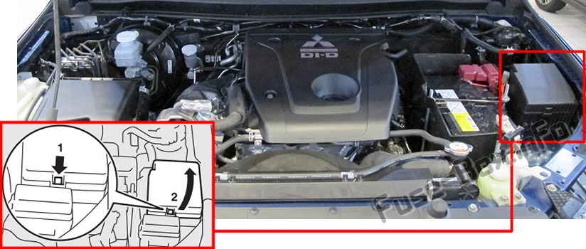 The location of the fuses in the engine compartment: Mitsubishi L200 (2017-2018..)