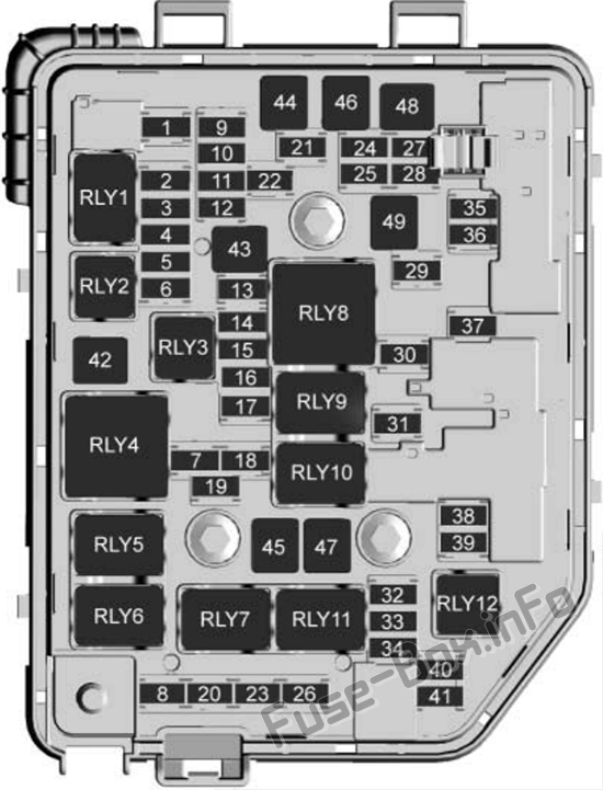 Under-hood fuse box diagram: Chevrolet Spark (M400; 2016, 2017, 2018, 2019)