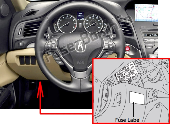 Acura ILX (2013-2018) The location of the fuses in the passenger compartment