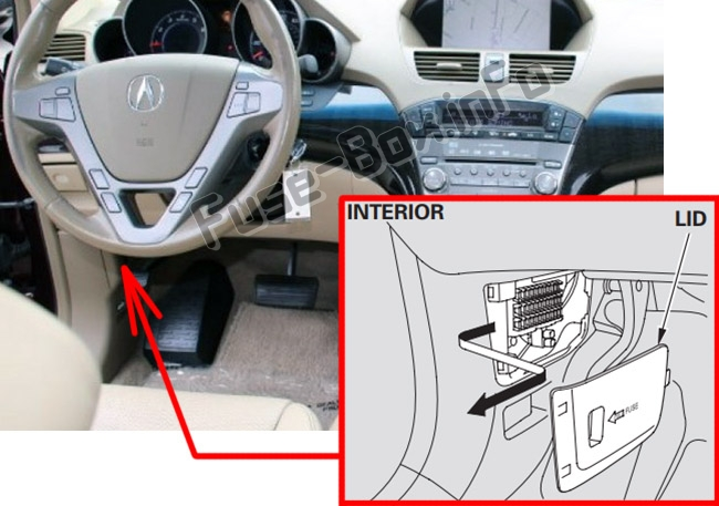 The location of the fuses in the passenger compartment: Acura MDX (YD2; 2007-2013)