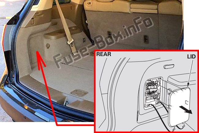 The location of the fuses in the trunk: Acura MDX (YD2; 2007-2013)