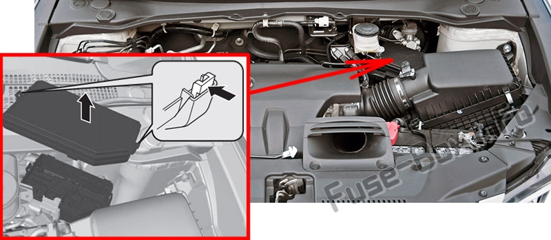 The location of the fuses in the engine compartment: Acura RDX (2013-2018)