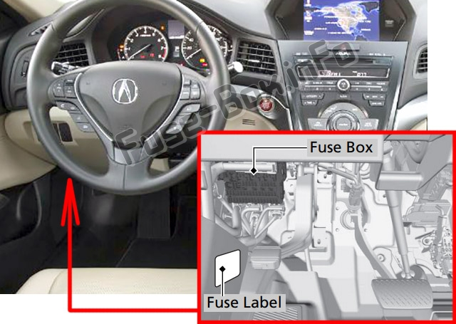 The location of the fuses in the passenger compartment: Acura RDX (2013-2018)