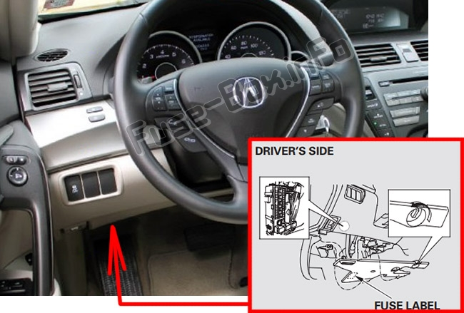 The location of the fuses in the passenger compartment: Acura TL (UA8/UA9; 2009-2014)