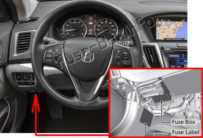 Die Position der Sicherungen im Fahrgastraum: Acura TLX (2014, 2015, 2016, 2017, 2018, 2019 -...)