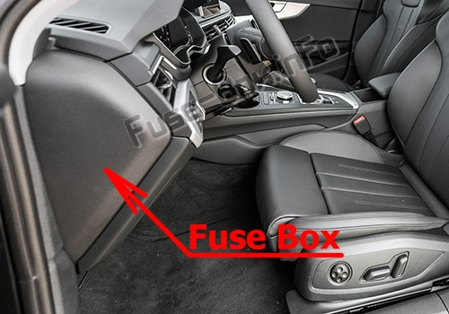 The location of the fuses in the passenger compartment: Audi A4/S4 (B9/8W; 2017-2019...)