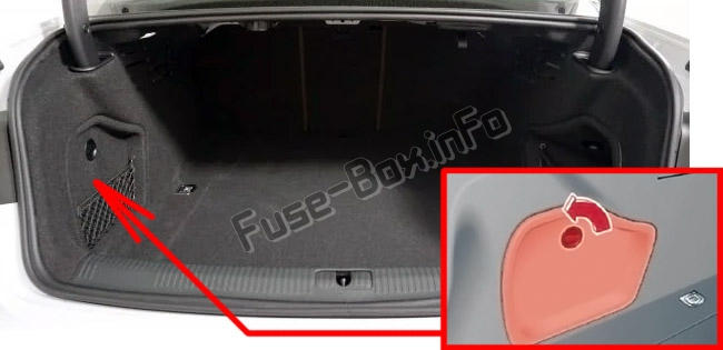 The location of the fuses in the trunk: Audi A4/S4 (B9/8W; 2017-2019...)