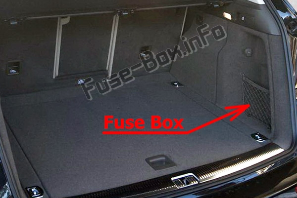 The location of the fuses in the trunk: Audi Q5 (8R; 2009-2017)