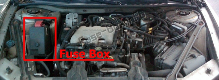 The location of the fuses in the engine compartment: Buick Century (1997-2005)